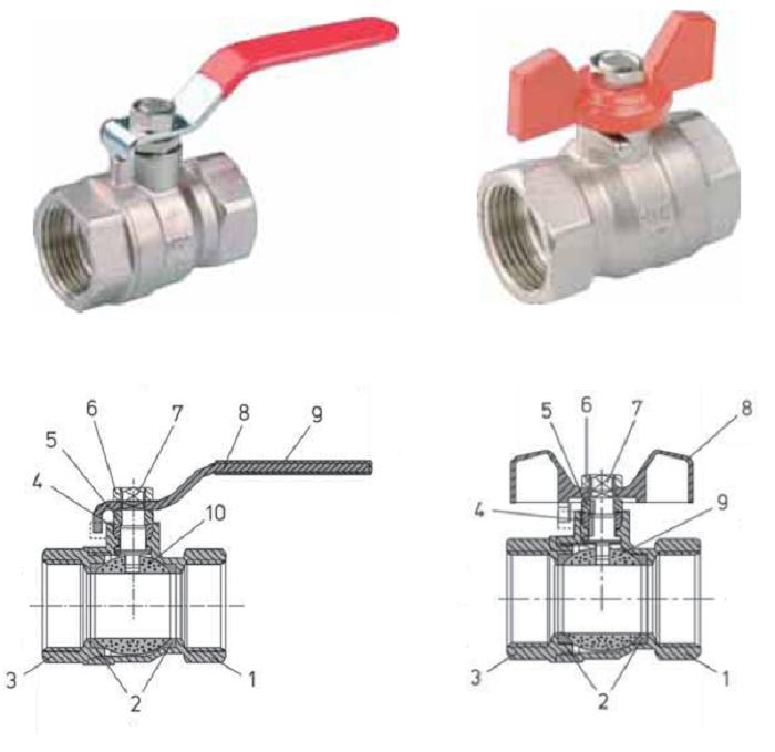 Standard Hidraulica Шаровые краны латунные DN 8–100, PN 2,5 МПа максимальная температура +110 °С (Испания), полнопроходной