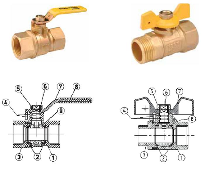 Standard Hidraulica  Шаровые краны латунные Газ DN 15–20, Рраб. 0,5 МПа, максимальная температура +60 °С (Испания)рукоятка «бабочка»,внутренняя резьба