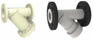 Фильтр фланцевый, материал — PPH, уплотнения из EDPM или FKM, строительная длина по EN 1759-1 (DIN), фланцевое присоединение по EN 1759-1 (DIN) или (ASME B16,5)