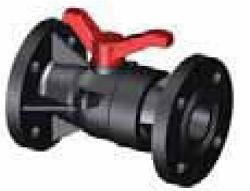 Шаровый кран SAFI серии 2014 с фланцами DIN с металлическими вставками, материал — GRPP