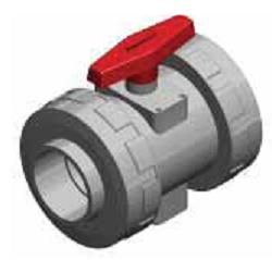 Шаровый кран SAFI серия 3111, разборное соединение, муфта PVC для клеевого соединения (стандарт DIN), материал — CPVC