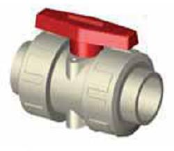 Шаровый кран 3150 разборное соединение, муфта для полимерной сварки (стандарт DIN), материал — PPH